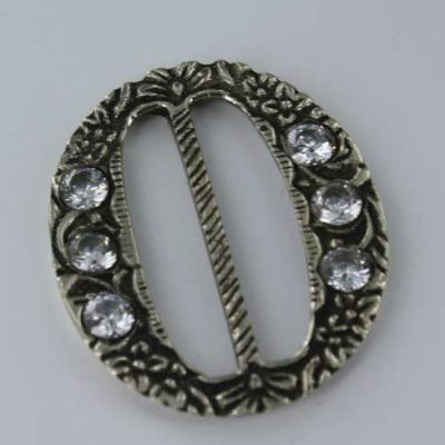 Oval Gem Buckle, White Bronze