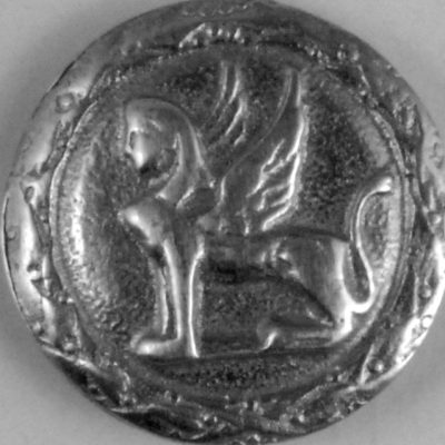 phoenix, antique Pewter Button, 102