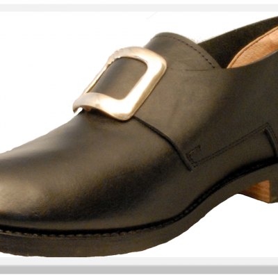 1758-Ligonier black-smooth colonial shoe