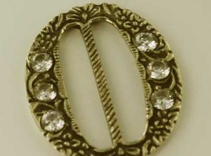 Oval Gem Buckle, brass