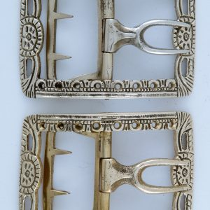 Pierced Shoe Buckle, White Bronze