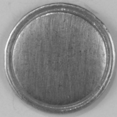 Domed with rim, pewter button, 109