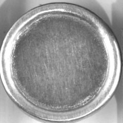 flat with a rim Pewter Button, 111
