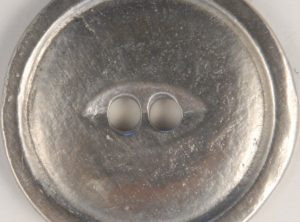 2 Hole Pewter Button, 2 hole with rim, 116. Hand made in the USA