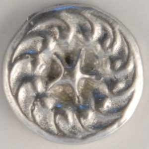 117 M, star-swirl, Pewter Button