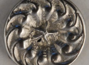 Swirl, center star Pewter Button, 11/16″, 118. Hand made in the USA