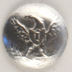 "131 S, ""I"" Eagle pewter button"