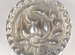 Floral Pewter Button, ragged edge, 9/16″, 133. Hand made in the USA