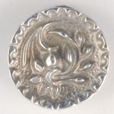 133  Floral Pewter Button