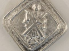 St. Andrew, square Scottish Pewter Button, 3/4″, 144. Hand made in the USA