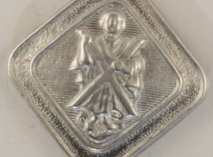 St. Andrew, square Scottish Pewter Button, 3/4″, 144