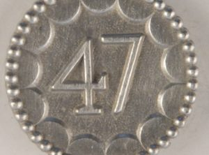 long-shank, 47th enlisted Pewter Button 7/8 inch, 154. Hand made in the USA