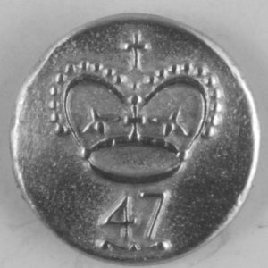 155 s, 47th Long-Shank Officers  Pewter Button