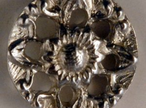 Pierced flower, Pewter Button. Hand made in the USA