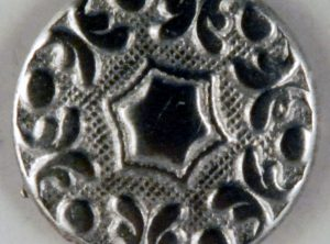 Hex design, 6 point center floral Pewter Button, 5/8″, 161. Hand made in the USA