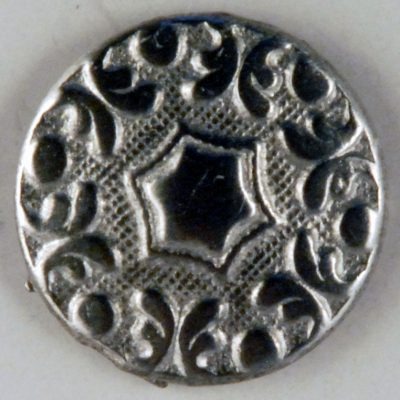 Hex design, 6 point center floral Pewter Button, 5/8″, 161