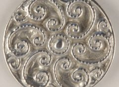 166 L Swirled Fancy Pewter Buttons 1 1/8in. Hand made in the USA