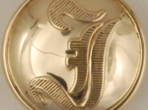 """I"" Infantry Brass High Domed Button, 186"