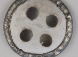 4 hole, Tin paper backed button, 4 hole with rim, 1/2in, 248