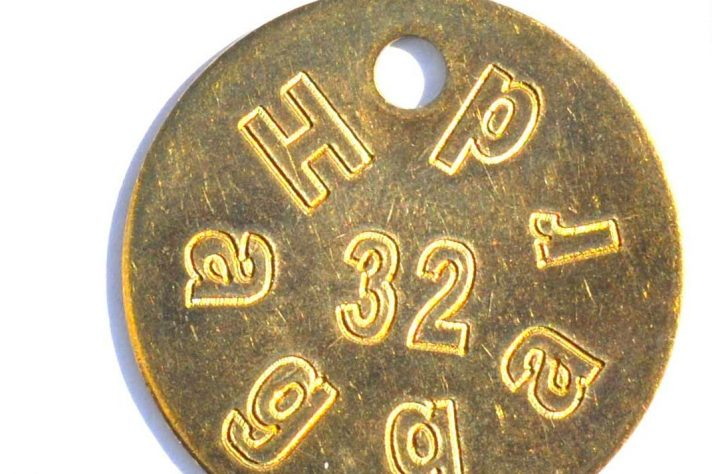 Engraved brass tag